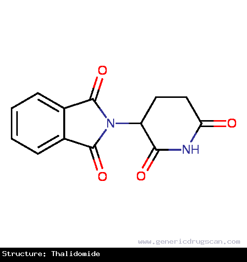 Generic Drug Thalidomide prescribed For the acute treatment of the cutaneous manifestations of moderate to severe erythema nodosum leprosum (ENL). Also for use as maintenance therapy ...